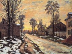 Claude Monet - Road at Louveciennes, Melting Snow, Sunset, 1870
