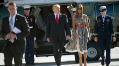 Trump puts hat on Marine after wind carries it away WHAT A HUMAN BEING!! The Marine never flinched. I am proud to be an American.