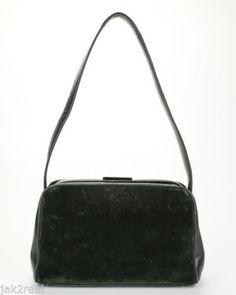 ONLY 5 Hours Left!  Hurry !! Bid Now !!! PRADA Dark Green Velvet Black Leather Trim Shoulder Handbag