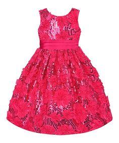 Look at this #zulilyfind! Hot Pink Sequin Floral Dress - Toddler & Girls #zulilyfinds #zulilybday
