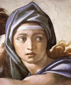 Sistine Chapel - The Delphic Sibyl (detail) 1 by Michelangelo Buonarroti