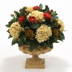 Distinctive Designs Ranunculus and Hydrangeas Silk Flower in Urn - 7632