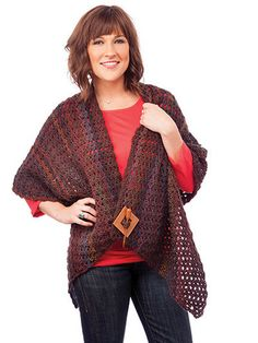 "AA886010 - Simple & Easy Reader's Wrap - $6.99  This wrap is not only pretty but quick and easy to stitch. It is made using 4 skeins of James C. Brett Marble DK-weight yarn. Size: upper edge: approx. 50""; lower edge: approx. 90""; length at the widest: 19"".  Skill Level: Easy  http://www.maggiescrochet.com/collections/new/products/simple-easy-readers-wrap"