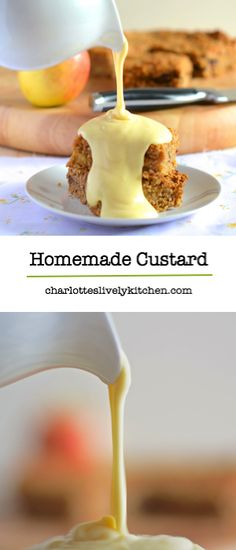 Don't buy ready made custard. It's really simple to make custard at home from simple everyday ingredients. cups of milk cup of flour tbls of granulated sugar 4 egg yolks Just Desserts, Dessert Recipes, Custard Recipes, Simple Custard Recipe, Egg Yolk Custard Recipe, Custard Desserts, Custard Sauce, Sweet Sauce, It Goes On