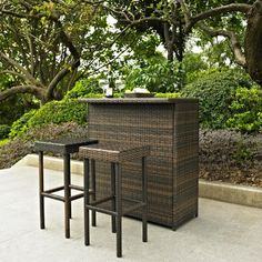 Palm Harbor 3 Piece Outdoor Wicker Bar Set - Table & Two Stools