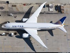 Nice overview of a United Airlines 787 and its beautiful wings while parked at Los Angeles Int'l Airport