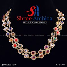 Two Layered Necklace stricken with semi precious stones, CZ diamonds in 92.5 Silver from Shree Ambica - Your Trusted Jewellers Readily available in stock Call/WhatsApp - +91986611050 Layered Necklace, Silver Jewellery, Diamonds, Stones, Necklaces, Jewels, Modern, Design, Breien