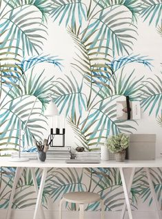 Removable wallpaper - Tropical Delicate Leaves Wallpaper - Wall mural - Leaves Wallpaper - Self adhesive wallpaper, Temporary wallpaper Wallpaper Wall, Temporary Wallpaper, Self Adhesive Wallpaper, Peel And Stick Wallpaper, Leaves Wallpaper, Wallpaper Samples, Solid Surface, Washable Paint, Blooming Flowers