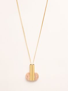 Marion Vidal pink marble and golden brass pendant