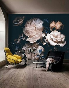 dark vintage floral wallpaper, dramatic floral wall mural, self adhesive, temporary mural, deeply floral, midnight florals, peel&stick #132