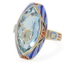 Art Deco Egyptian Revival Aquamarine Ring - The Three Graces