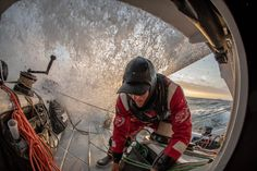 Leg 10, from Cardiff to Gothenburg, day 5 on board Sun Hung Kai/Scallywag. Alex getting the sheets ready for a gybe. 14 June, 2018.