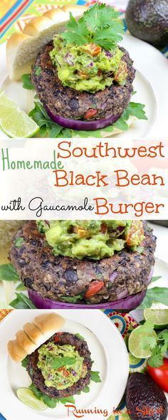 Easy & Healthy Homemade Southwest Black Bean Burgers with guacamole.  A vegetarian grilling option anyone will love.  These are simply the best!  Grilled or cook them on the stove top.  Packed with veggie goodness.  Stock the freezer to eat anytime. These are a family favorite! / Running in a Skirt