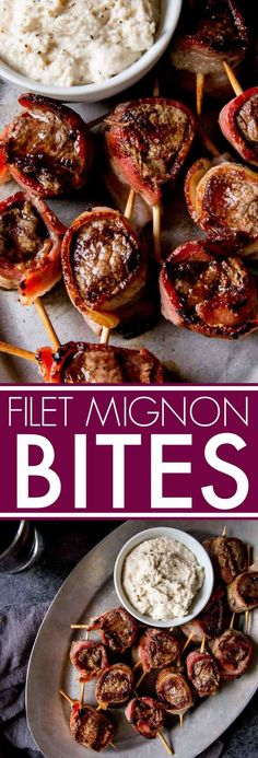 Filet Mignon Bites with Creamy Horseradish Sauce are the perfect elegant party appetizer. Bacon is wrapped around filet mignon and skewered. #appetizer #filetmignon #partyappetizer #fingerfood via @platingspairing