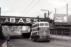 217 Sunbeam passing under Nottingham Road railway bridge, Derby, in about 1960 en route to the Creamery Nottingham City Centre, Nottingham Road, London Transport, Public Transport, Look Back In Anger, Blue Bus, Advertising Signs, Ads, Bus Coach