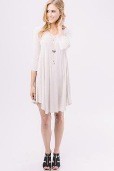 KLD.V Neck Jersey Dress.Oatmeal
