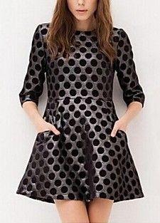 Fashion Dot Print Mid Sleeve Dress