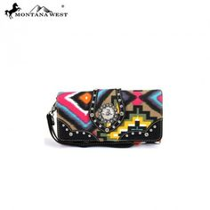 Montana West Aztec Collection Crystal Concho Wristlet Wallet