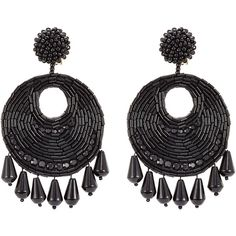 Kenneth Jay Lane Beaded Chandelier Earrings (1539415 BYR) ❤ liked on Polyvore featuring jewelry, earrings, joias, accessories, brinco, black, black pendant, round earrings, pendant earrings and chandelier pendant