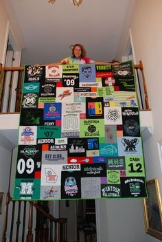 tshirt quilt- @Alexander Kahn We should do this with all of the ugly shirts you wont let me throw out because you love them