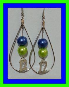 Blue+and+green+Seattle+Seahawks+handmade+earrings+by+JBugDesign06