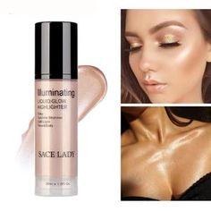SACE LADY Illuminator Makeup Highlighter Cream for Face and Body Shimmer Make Up Liquid Brighten Professional Glow Kit Cosmetic Makeup Tips, Beauty Makeup, Eye Makeup, Makeup Ideas, Makeup Inspiration, Body Makeup, Beauty Tips, Illuminator Makeup, Face Contouring Makeup
