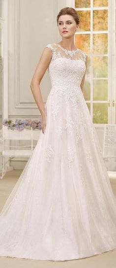 Illusion neckline ball gown Wedding Dress by Fara Sposa 2017 Bridal Collection