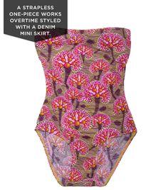 07fe2ecbc76 Bantu Reef Print Strapless Swimsuit