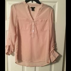 Pale pink sheer blouse Pale pink, never been worn Tops Button Down Shirts