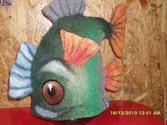 """Банные принадлежности ручной работы. Ярмарка Мастеров - ручная работа. Купить Шапка для бани """"Рыба"""". Handmade. Зеленый, рыба"""