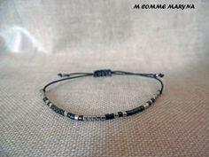 Bracelet d'amitié réglable en perles Miyuki delicas Noir et argenté Minimalisme Bohochic Bohemian Bohostyle : Bracelet par m-comme-maryna