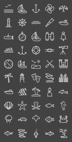 50 Sea Line Inverted Icons - Icons