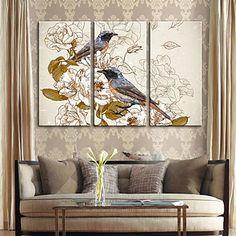 現代アートなモダン キャンバスアート 絵 壁 壁掛け 油絵の特大抽象画3枚で1セット お花と小鳥 渡り鳥 休憩 ブルー 動物 鳥 鳥類 【納期】お取り寄せ2~3週間前後で発送予定【送料無料】ポイント