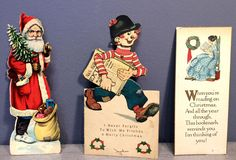3 Vintage Antique Christmas Greeting cards : one with Moving head Bookmark in Collectibles, Paper, Vintage Greeting Cards | eBay!