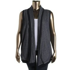 Jones New York Womens Plus Cotton Sleeveless Cardigan Top
