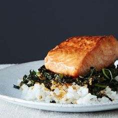 Crispy Coconut Kale with Roasted Salmon and Coconut Rice - Food52/Goop