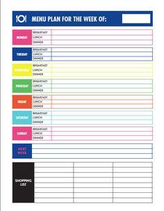 Menu Planning Printable