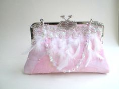 Couture bridal purse, bridal clutch by BoudicaBags Beaded Bouquet, Beaded Flowers, Fabric Flowers, Bridal Clutch, Wedding Clutch, Pink Winter Dresses, Pink Ombre Cake, Pink Satin, Pale Pink