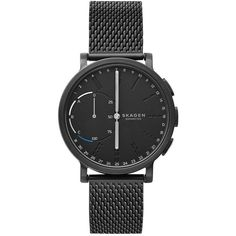 Skagen Hagen Connected Mesh Strap Hybrid Smart Watch, 42Mm (€210) ❤ liked on Polyvore featuring jewelry, watches, black, skagen watches, polish jewelry, skagen jewelry, pin jewelry and skagen