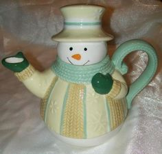 Ganz Bella Casa Cable Knit Sweater Snowman Ceramic Teapot BC10368 | eBay