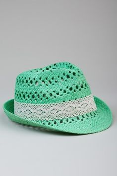 Raffia Crochet Fedora - Mint