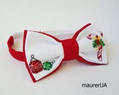 Christmas candy cane bow tie Green/red bow tie Men's holiday ties Handmade necktie Xmas embroidery tie Boy's cross-stitched cravat Cute gift Red Bow Tie, Bow Ties, Christmas Candy, Xmas, Candy Cane, Cute Gifts, Silhouette, Embroidery, Unique Jewelry
