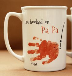 Baby crafts Grandpa - Your child's actual prints! Daddy and Grandpa Mug for christmas gift, handprint art keepsake, Fish Handprint Mug 402 mug, baby christmas Mothers Day Crafts For Kids, Fathers Day Crafts, Kids Crafts, Baby Crafts To Make, Summer Crafts, Baby Christmas Gifts, Babies First Christmas, Christmas Diy, Christmas Presents For Grandparents