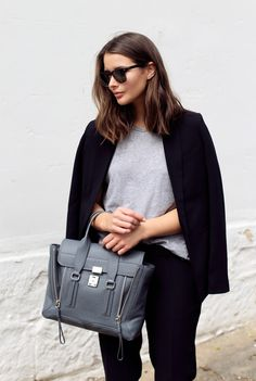 Joie trousers and blazer, Bassike tee, Jimmy Choo pumps, 3.1 Phillip Lim bag*, Ray-Ban sunglasses...