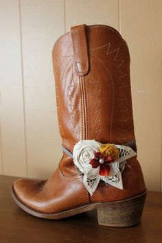 Rustic Boho Boot Bands  Country Rustic Flower Boot by dustyLuck