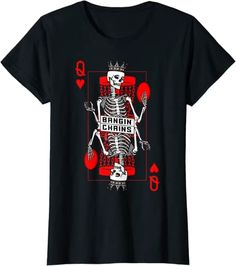 Amazon.com: Bangin' Chains Disc Golf Gothic Queen Of Hearts Skull Card T-Shirt: Clothing Cool Tees, Cool T Shirts, Branded T Shirts, Printed Shirts, Dark Fashion, Mens Fashion, Female Skeleton, Hearts Playing Cards, Gothic Shirts