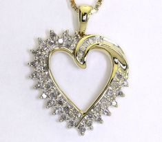 92df3abe29e704 Diamond heart pendant necklace yellow gold round baguettes .30CT 14K box  chain! #Pendant