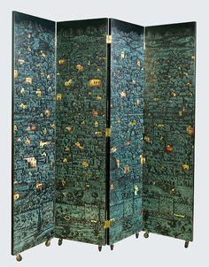 A large screen by Piero Fornasetti: Jerusalem by Night- to one side Skyscrappers- to other side, Italian, c 1950 Lacquer on wood, BIOMBO Room Divider Screen, Room Screen, Room Deviders, Closet Mirror, Joe Colombo, Dressing Screen, Piero Fornasetti, Wooden Screen, Decorative Screens