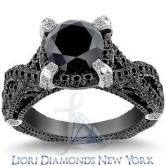 BLACK DIAMOND ENGAGEMENT RINGS   ... Certified Natural Black Diamond Engagement Ring 14k Black Gold BDR-233