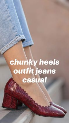Mid Heel Sandals, Low Heel Shoes, Low Heels, Shoes Heels, Mode Outfits, Jean Outfits, Nude Heels, Black Heels, Chunky Heels Outfit